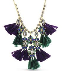 catherine malandrino rhinestone and raffia tassel drop necklace in yellow gold-tone alloy