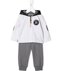 lapin house cable knit print hooded tracksuit set - white