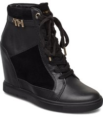 th hardware sneaker wedge shoes boots ankle boots ankle boots with heel svart tommy hilfiger