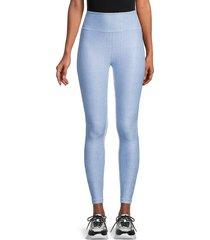 wear it to heart women's blue derby stripe reversible high-waist leggings - blue - size m