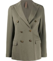 eleventy double-breasted decorative buttoned blazer - green