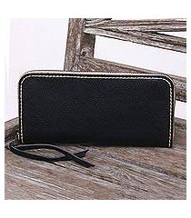 leather wallet, 'sophisticated ebony' (indonesia)