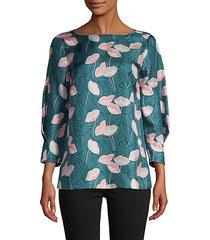 botanical-print silk blouse