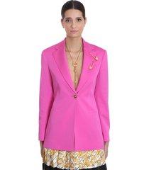blazer in rose-pink silk