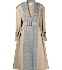 alexander mcqueen panelled mid-length trench coat - black