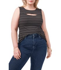 1.state keyhole cutout sleeveless top, size 2x in rich black at nordstrom