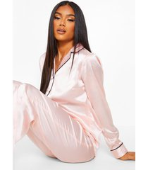 satijnen geborduurde 'best friends' pyjama set, blush
