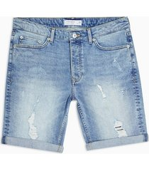 mens stonewash light wash ripped skinny denim shorts