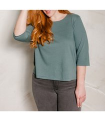 ori women's's plus size 3/4 sleeve super soft crop tee