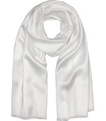 forzieri designer men's scarves, pure white silk men's long scarf