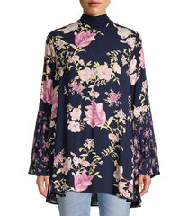 free people women's floral-print tunic - midnight - size s