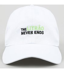 "boné unissex carnaval aba curva com bordado ""the litrão never ends"" branco"