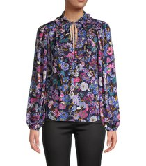 tanya taylor women's aniela floral tie-neck silk blouse - blue multi - size l