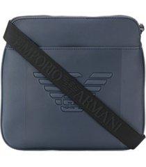 emporio armani bolsa tiracolo com gravação de logo - azul