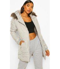 tall gewatteerde jas met faux fur zoom, grey
