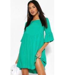 gesmokte jurk met wijde hals en ruches, groen