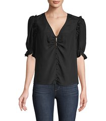 ruffled-trimmed button-front top
