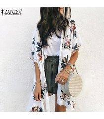 zanzea para mujer delantera abierta larga floral remata la blusa de verano cardigan outwear coat -blanco