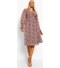 bloemen midi wikkel jurk met geplooide mouwen, roze