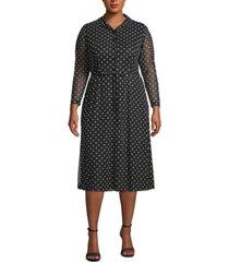 anne klein plus size dot-print sheer-sleeve dress