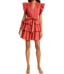 women's ulla johnson honoria ruffle cotton poplin dress, size 10 - red