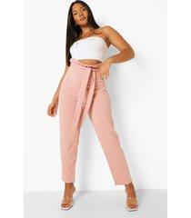 plus toelopende broek met geplooide taille en ceintuur, blush