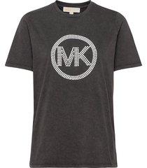 wash ht mk emb tshrt t-shirts & tops short-sleeved zwart michael kors