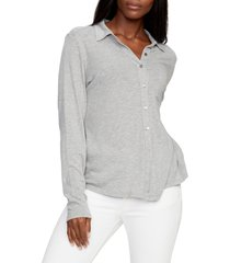 women's michael stars harley long sleeve ultra jersey shirt, size x-large - grey