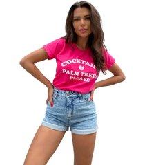 blusa in love t-shirt cocktails pink - pink - feminino - algodã£o - dafiti