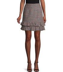 rebecca taylor women's textured tweed skirt - pink navy - size 12