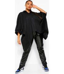 plus oversized blouse met open rug en vleermuismouwen, black