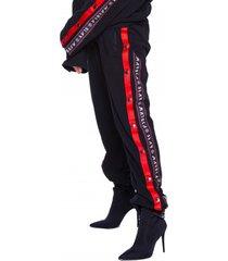 spodnie dresowe black and red