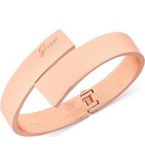guess rose gold-tone hinged bangle bracelet