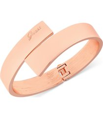 guess rose gold-tone hinged bangle bracelet