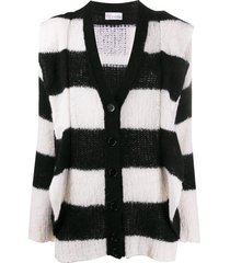 redvalentino striped maxi cardigan - black