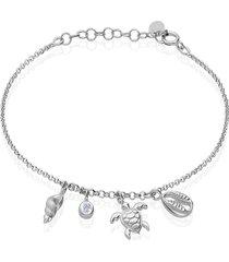 bracciale in argento rodiato con ciondoli tartaruga conchiglia stella marina e zirconi per donna