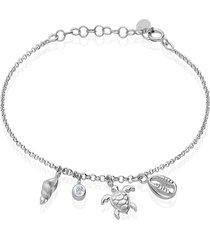 bracciale in argento rodiato con zircone tartaruga conchiglia stella marina per donna