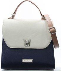 bolsa feminina maria verônica tote de couro off white com azul