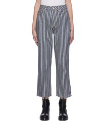 straight leg stripe crop jeans