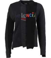 wool and cotton recomposed knit sweater, black