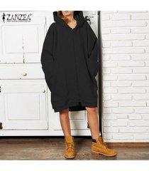 zanzea larga para mujer de la manga sudaderas con capucha de la cremallera sudaderas con capucha causal puentes outwear -negro
