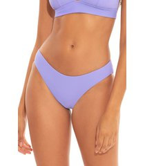 becca fine line ribbed high leg bikini bottoms, size x-small in violet at nordstrom
