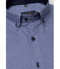 eterna overhemd navy blauw geruit twill button down ml6 modern fit