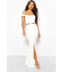 bardot split front maxi dress, white