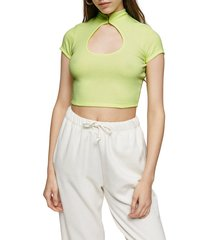 women's topshop cutout crop tee, size 10 us (fits like 10-12) - green