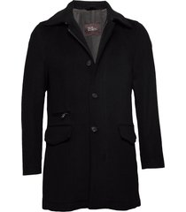 jefferson coat wollen jas lange jas zwart oscar jacobson
