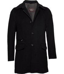 jefferson coat wollen jas lange jas zwart oscar jacobson
