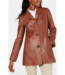 anne klein button-down leather jacket