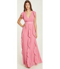 motivi vestito lungo plissé con volant donna rosa