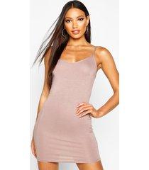 basic strappy cami bodycon dress, tan